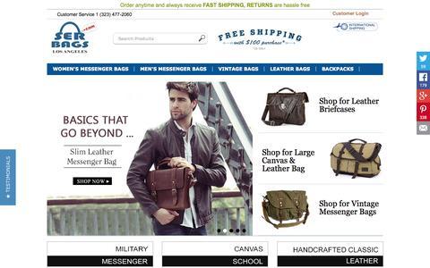 Screenshot of Home Page serbags.com - Canvas Messenger Bag, Leather Messenger Bag for women and men - captured Aug. 5, 2015