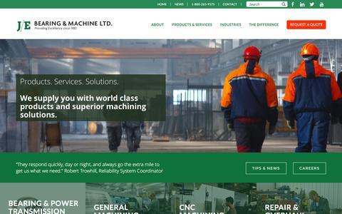Screenshot of Home Page je-bearing.com - J/E Bearing and Machine Ltd | Machine Shop Ontario Canada - captured Feb. 2, 2016