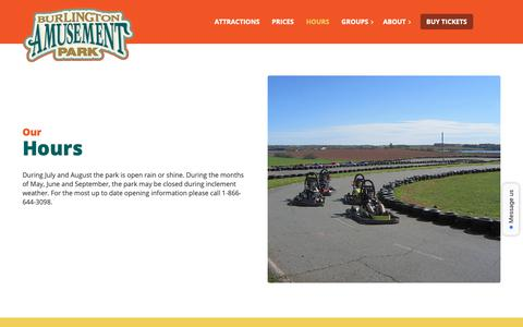 Screenshot of Hours Page burlingtonamusementpark.com - Hours - Burlington Amusement Park - captured Oct. 22, 2018