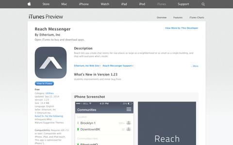 Screenshot of iOS App Page apple.com - Reach Messenger on the App Store on iTunes - captured Oct. 22, 2014
