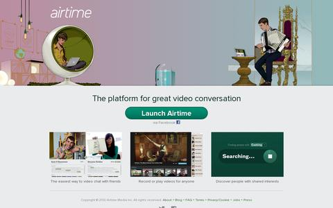Screenshot of Home Page airtime.com - Airtime - captured July 17, 2014