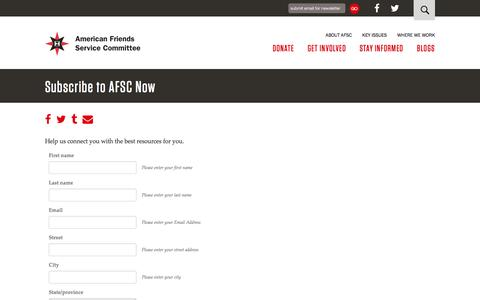 Screenshot of Signup Page afsc.org - Subscribe to AFSC Now | American Friends Service Committee - captured Aug. 27, 2016