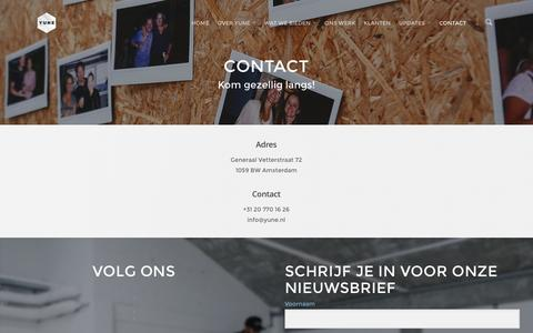 Screenshot of Contact Page yune.nl - Contact | Yune - captured Feb. 26, 2016