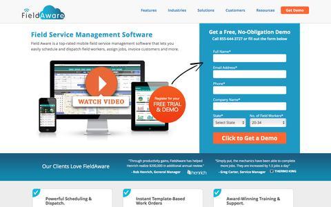 Screenshot of Landing Page fieldaware.com - Field Service Management Software - captured Nov. 13, 2016