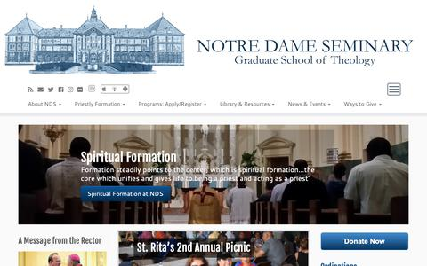 Screenshot of Home Page nds.edu - Notre Dame Seminary – Graduate School of Theology, Catholic Seminary - captured Oct. 18, 2018