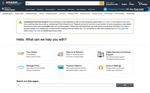 Screenshot of Support Page amazon.co.uk - Amazon.co.uk Help - captured Sept. 17, 2019