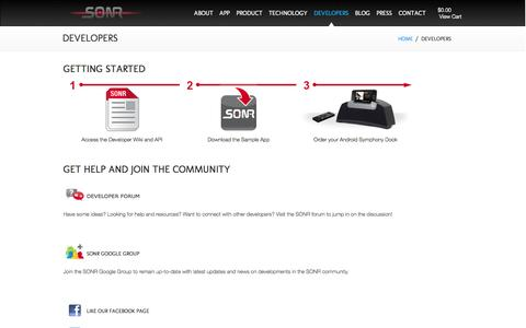 Screenshot of Developers Page sonrlabs.com - Developers   SONR Labs - captured Sept. 26, 2014