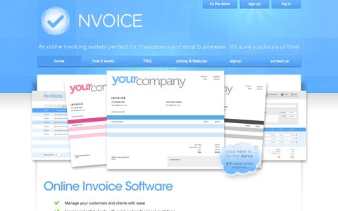 Screenshot of Home Page nvoice.co.za - Online Invoicing | Easy-to-Use Invoice Software - NVOICE - captured Sept. 3, 2015