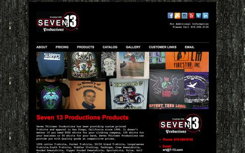 Screenshot of Products Page 7-13.com - Seven 13 Productions Custom T-Shirt Printing Products Page - captured Oct. 26, 2014
