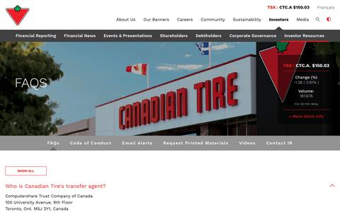 Screenshot of FAQ Page canadiantire.ca - Canadian Tire Corporation, Limited - Investors - Investor Resources - FAQs - captured Oct. 10, 2018