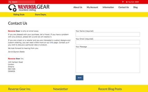 Screenshot of Contact Page reversegearinc.com - Contact | Reverse Gear - captured Jan. 11, 2016