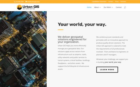 Screenshot of Home Page urbangis.com - Urban GIS | GIS Consulting Firm - Chicago | Atlanta | Denver | Houston | DC - captured July 5, 2019