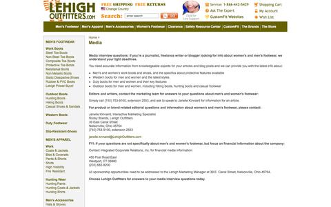 Screenshot of Press Page lehighoutfitters.com - Media interview questions: find  info sources for women's & men's footwear. - captured Sept. 29, 2014
