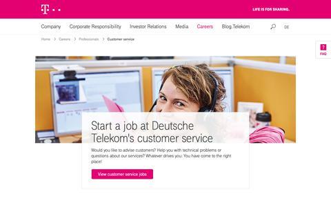 Screenshot of Support Page telekom.com - Deutsche Telekom: Your future at Telekom's customer service - captured Nov. 5, 2018