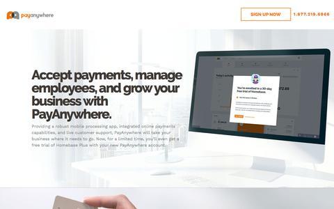 Screenshot of Landing Page payanywhere.com - Homebase PPC - captured Aug. 8, 2018