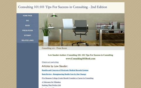 Screenshot of Press Page consulting101book.com - Consulting 101 - Press Room - captured Oct. 2, 2014