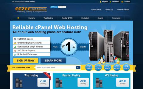 Screenshot of Home Page eezee-web.co.uk - EEZEE Web Solutions - Top Quality Hosting at Budget Prices! - captured July 9, 2017