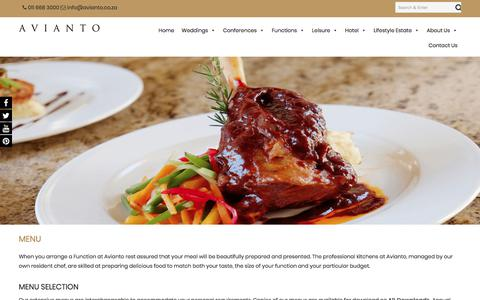 Screenshot of Menu Page avianto.co.za - Wedding Menu | Wedding Food | Avianto - captured Oct. 9, 2017