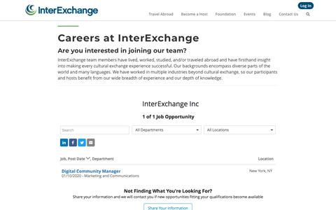 Screenshot of Jobs Page interexchange.org - Careers at InterExchange · InterExchange - captured Feb. 4, 2020