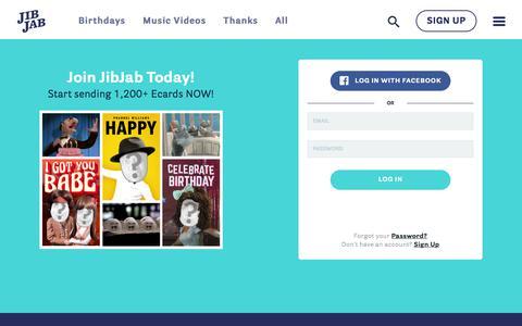 Screenshot of Login Page jibjab.com - Funny eCards - Send Custom Greeting Cards Online w/ JibJab! - Login - captured Aug. 20, 2019