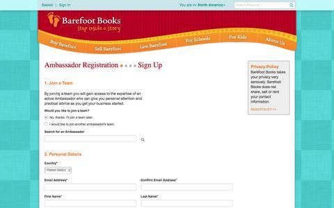 Screenshot of Signup Page barefootbooks.com - Barefoot Books :: Starter Kit - captured July 28, 2016