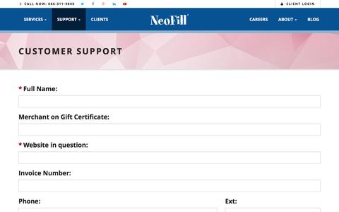 Screenshot of Support Page neofill.com - NeoFill�  � Customer Support � Complete E-Commerce Solutions - captured Jan. 10, 2016