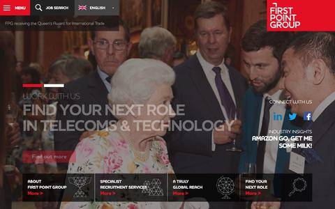 Screenshot of Home Page firstpointgroup.com - First Point Group - Telecoms & Technology Recruitment Services - captured April 26, 2018