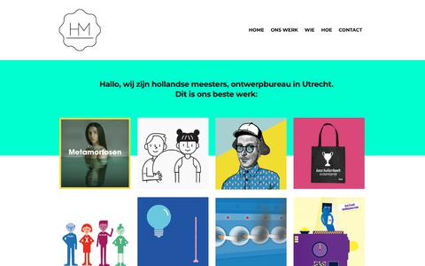 Screenshot of Home Page hollandsemeesters.nl - hollandse meesters - ontwerp, web design, animatie, infographics - captured Dec. 8, 2018