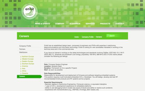Screenshot of Jobs Page embit.eu - Careers «  Embit – embedded & wireless solutions - captured Sept. 29, 2014