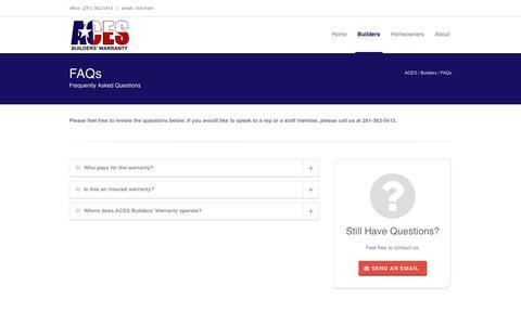 Screenshot of FAQ Page acesbuilderswarranty.com - ACES   –  FAQs - captured Oct. 4, 2014