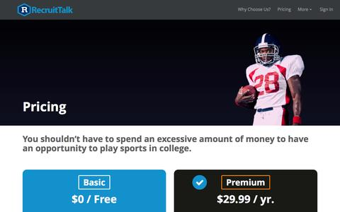 Screenshot of Pricing Page recruittalk.com - Recruiting Tools For Student Athletes To Get Recruited - captured Feb. 25, 2016