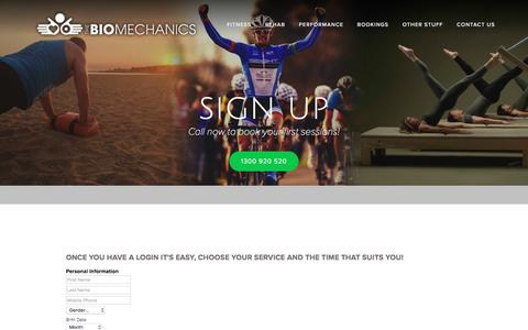 Screenshot of Signup Page thebiomechanics.com.au - Sign Up - captured Dec. 11, 2016