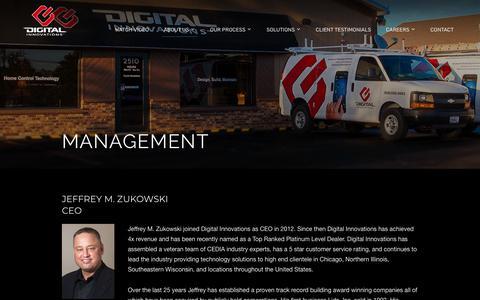 Screenshot of Team Page homecontroltechnology.com - Management - Digital Innovations - captured Oct. 1, 2018