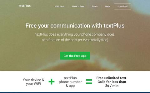 Screenshot of Home Page textplus.com - textPlus - Free Calls and Texts - captured Sept. 17, 2014