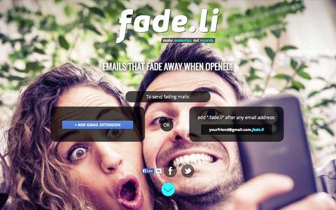 Screenshot of Home Page fade.li - Fade.li - Email that fades away - captured Dec. 13, 2014