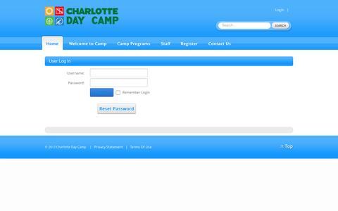 Screenshot of Login Page charlottedaycamp.com - User Log In - captured May 16, 2017