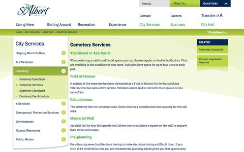 Screenshot of Services Page stalbert.ca - Cemetery Services   City of St. Albert - captured Sept. 4, 2016