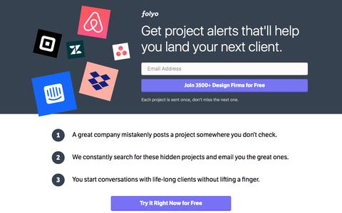 Screenshot of Home Page folyo.me - Folyo: Remote Part-time Jobs and Projects for UI/UX Design Firms - captured June 14, 2018