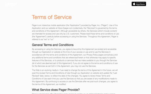 Pager | Terms and Conditions