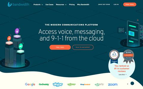 Screenshot of Home Page bandwidth.com - APIs for Voice, Messaging and 9-1-1 - Bandwidth - captured Nov. 12, 2018