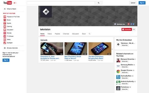 Screenshot of YouTube Page youtube.com - teknision  - YouTube - captured Oct. 26, 2014