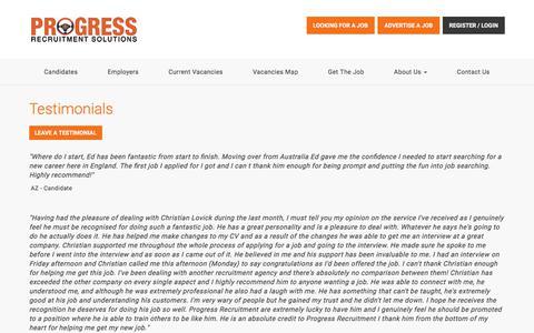Screenshot of Testimonials Page progressrecruitment.co.uk - Progress Recruitment - captured April 26, 2018