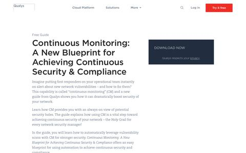 Continuous Monitoring: A New Blueprint for Achieving Continuous Security & Compliance Whitepaper | Qualys, Inc.