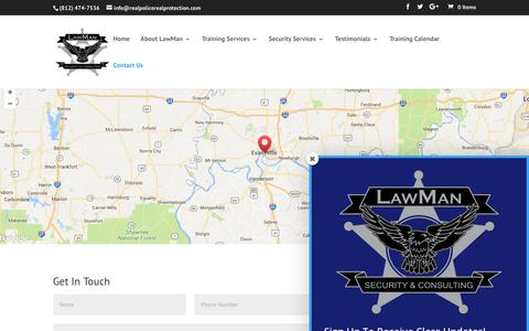Screenshot of Contact Page realpolicerealprotection.com - Contact Us | LawMan Security & Consulting - captured July 21, 2017