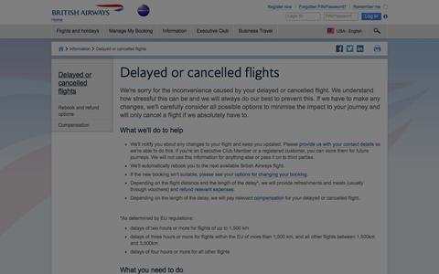 Delayed or cancelled flights | British Airways