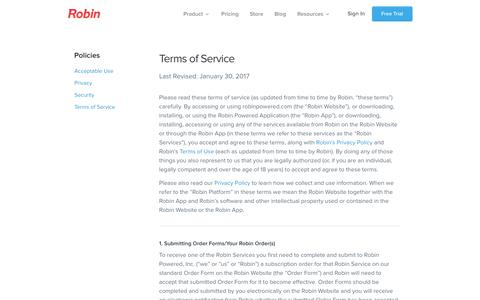 Terms of Service - Robin