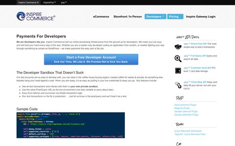 Screenshot of Developers Page inspirecommerce.com - Payments For Developers | Inspire Commerce - captured Sept. 16, 2014