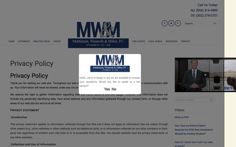 Screenshot of Privacy Page mwm-law.com - Privacy Policy - Mattleman, Weinroth & Miller Attorneys At Law - captured Feb. 12, 2016