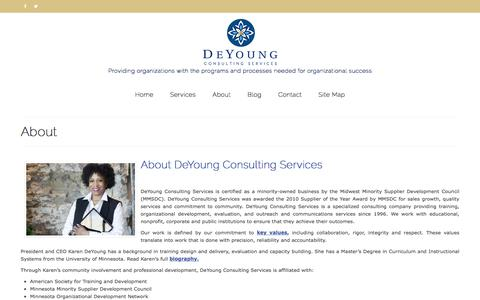 Screenshot of About Page deyoungconsultingservices.com - About - DeYoung Consulting Services, Minneapolis, Minnesota | Nationally Serving Nonprofits and Public Sector Clients - captured Oct. 12, 2017