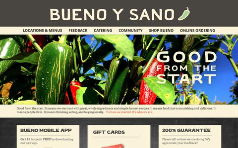 Screenshot of Home Page buenoysano.com - Best Mexican Restaurant | Eat Bueno. Live Bueno. - captured June 2, 2017